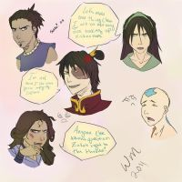 A:TLA Character Doodles by watermistress