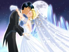 Usagi and Mamoru: Wedding Kiss by foogie