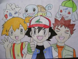 Misty, Ash, and Brock by AJLeefan4life