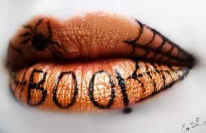 Boo Spiderweb Halloween Lip Art by Chuchy5