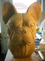 Oak boston terrier bust 3 by NyaahNatrix