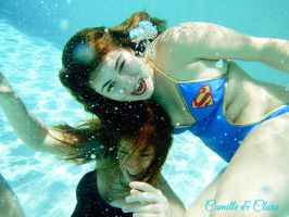 Clara and I in the Pool by CamilleCrimson