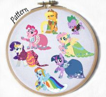 Gala My Little Pony Mane 6 Cross stitch patterns by JuliefooDesigns