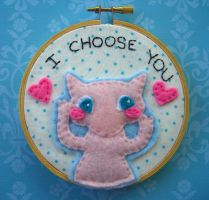 Mew Embroidery Hoop by iggystarpup