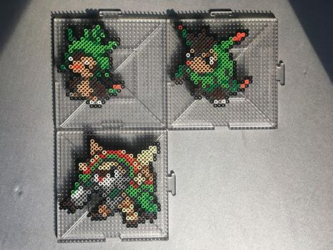 #650-#652 Chespin Family Perlers by TehMorrison