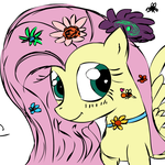 fluttershy flowers by tiarawhy