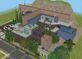 Sims 2 Modern Blue Cliffside House by RamboRocky