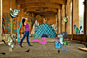 Playing Under Graffiti Bridge by krissybdesigns