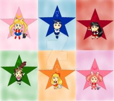 Sailor Moon Bookmarks/Keychains with Background by Niarahime