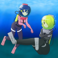 Cynthia and Dawn in diving suit 2-1 by Nekomi4