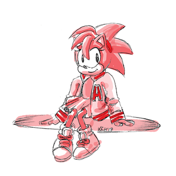 Sketch Request: Classic Amy Rose in Varsity Jacket by tea-bug