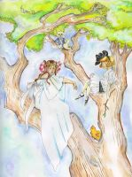 Dorothy and Ozma with Billina and Eureka by angeldevilland