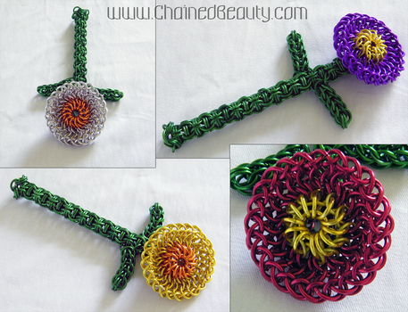 Chainmaille Flowers by ChainedBeauty