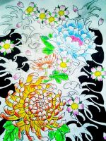 Japanese flower half sleeve colored by jessicore666
