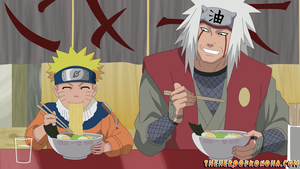 Naruto and Jiraiya eating ramen at Ichiraku by TheHeroOfKonoha