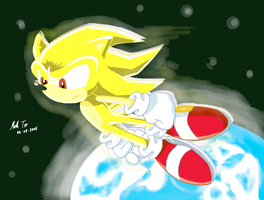 Super Sonic in Space by Rapid-the-Hedgehog