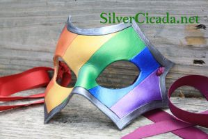 Leather Gay Pride Rainbow Mask In Metalics by SilverCicada