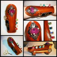 Leather sewing steampunk bracer by Delireum