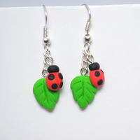 Polymer Clay Ladybug / Ladybird Earrings by Linnypig
