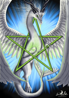 Magical Moondragon Pentagram by Gewalgon