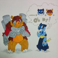 Fakemon Starters, Grizmech and Tigreat by ArcaneMagicarp