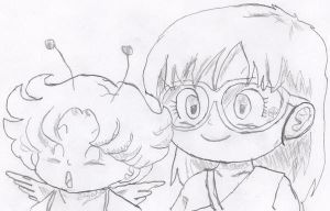 Arale and Gatchan by DelqueaBoss