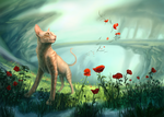 Poppies and the Cat by WolfsECHO