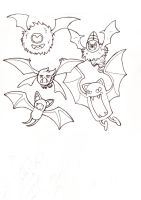 Bat pokemon of the night outline by Jazwind