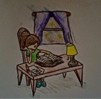 Me Studying (colored) by slim58