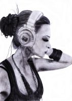 Girl with headphones by TotalEmptiness
