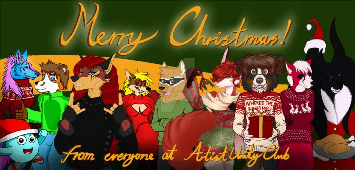 Artistunityclub collaboration Merry Christmas by Justicewolf337