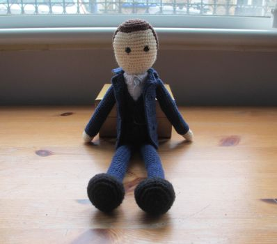 BBC Sherlock: Mycroft  Crochet Doll (Commission) by fourthimbles