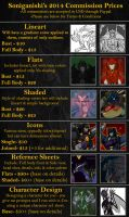 Commission Price Sheet - 2014 by GravitatingConundrum
