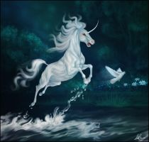 White unicorn by Igriel