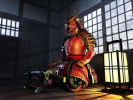 Samurai before the battle by Silesky