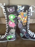 Invader Time custom knee high canvas shoes by Miss-Melis