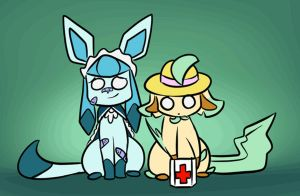 Ask Glaceon and Leafeon: Covered in Bandaids by Uluri