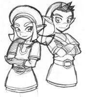 Karane and Pipit sketch by rongs1234