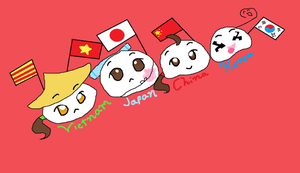 Hetalia Asian Mochis-Vietnam, China, Japan, Korea by MirabelleLeaf31