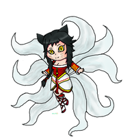 LOL: Ahri the nine tailed fox chibi by Puccawitch