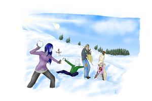 monster snowball fight by Ayaa-Yun