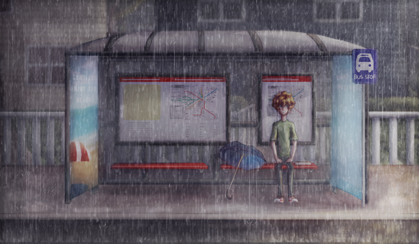 Waiting for the Bus by ghostchiryou