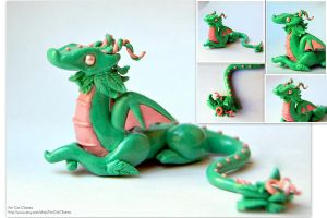 Polymer Clay Dragon by FatCatCharms