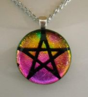 Pink Yellow Glass Pentagram by HoneyCatJewelry