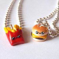 Burger and Fries Best Buddy Necklaces by pitterpatterpolymer