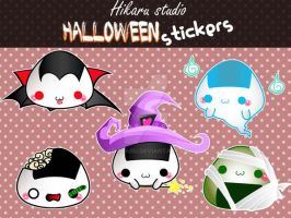 Halloween onigiris stickers by luzhikaru