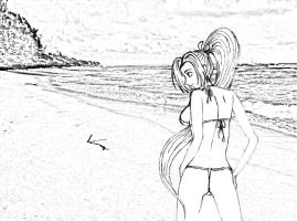 mai at the beach by twinhyphens