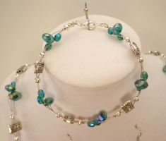 *SOLD* Teal Crystal and Silver Set by TheSortedBead