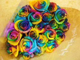 Rainbow Roses - Flowers from Rungis by Odessa-Himijo