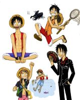Luffy Sketches -Coloured- by Brainiac6Techgirl